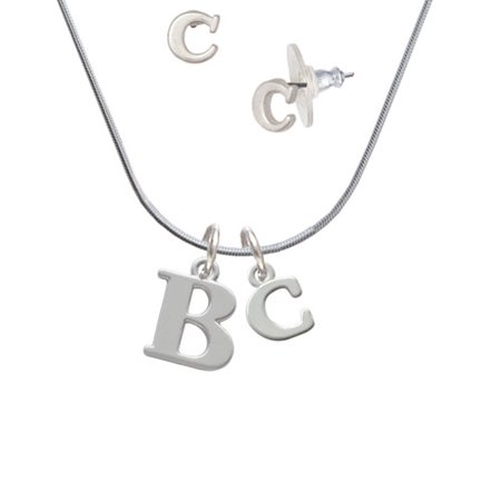 Large initial b c initial charm necklace and stud earrings large initial b c initial charm necklace and stud earrings jewelry set aloadofball Images