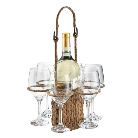 Aluminum Wine Tote - Artland Gt Wine Set Seagrass Tote + 6 Wine Glasses 14Oz, Giftboxed