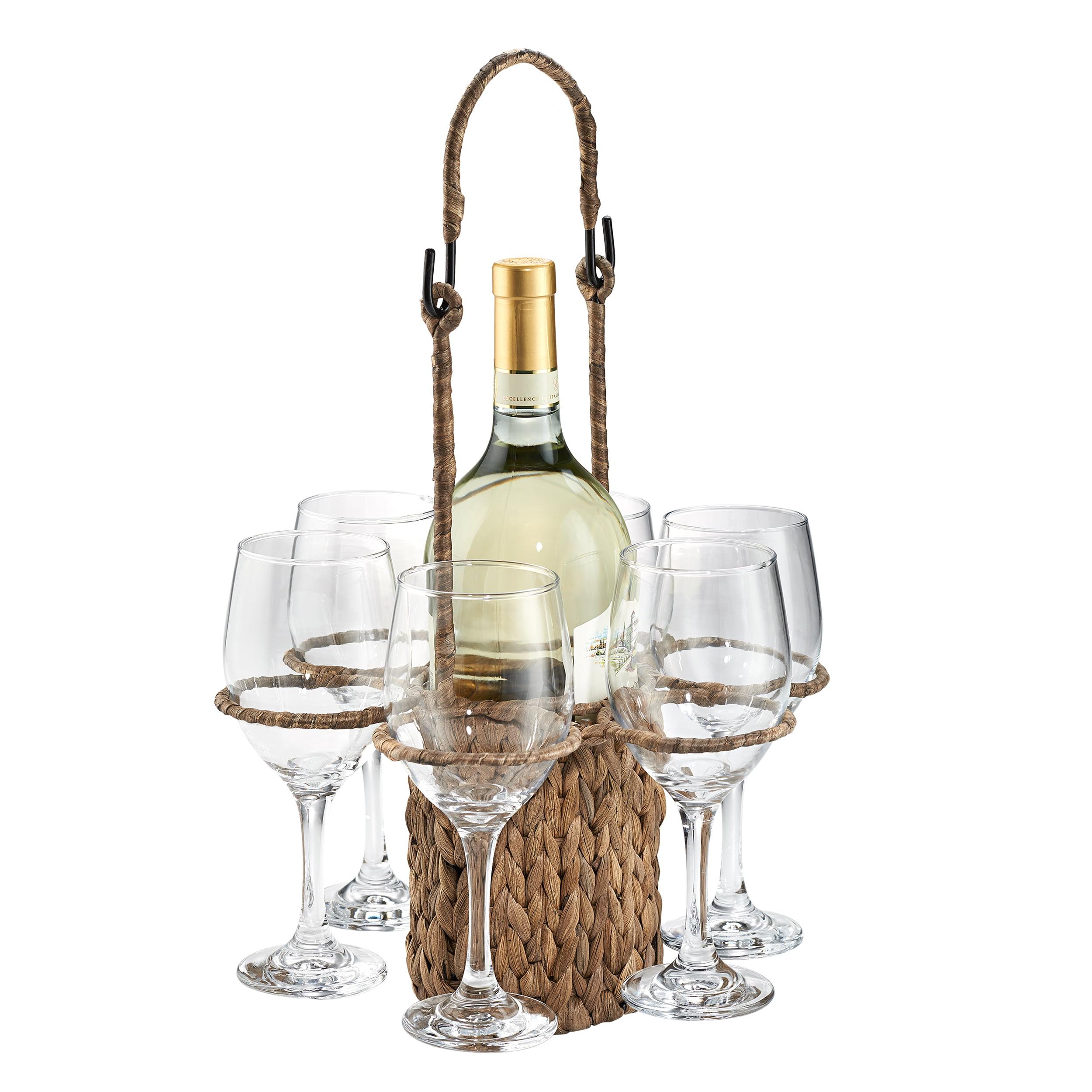Artland Gt Wine Set Seagrass Tote + 6 Wine Glasses 14Oz, Giftboxed