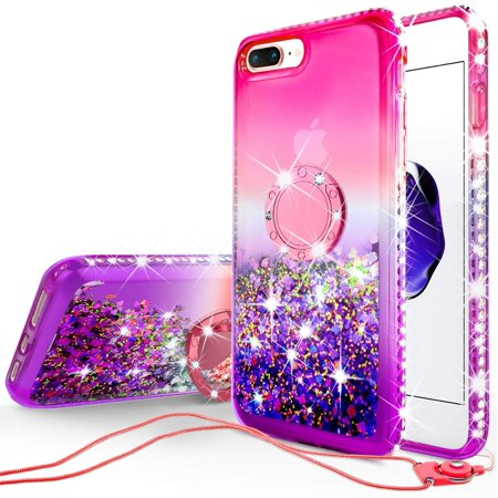SOGA Rhinestone Liquid Float Quicksand Cover Cute Girl Phone Case Compatible for iPod Touch 5/iPod Touch 6 Case, with Embedded Metal Diamond Ring for Magnetic Car Mounts and Lanyard - Pink on Purple ()