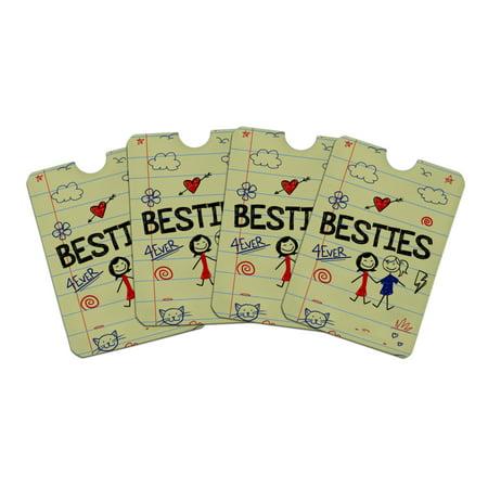 Besties Best Friends Credit Card RFID Blocker Holder Protector Wallet Purse Sleeves Set of