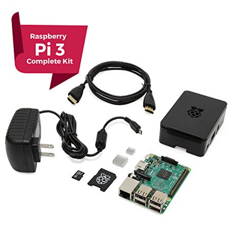 Raspberry Pi 3 COMPLETE Starter Kit, Black, 16GB Edition - Pi3 Model B Barebones Computer Motherboard 64bit Quad-Core CPU 1GB RAM, Black Pi3 Case, 2.5A Power Supply, 6FT HDMI Cable,