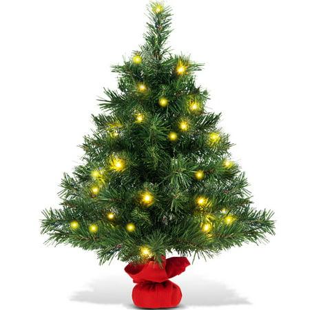 Costway 24'' Pre-Lit Tabletop Fir Artifical Christmas Tree Led Lights ()