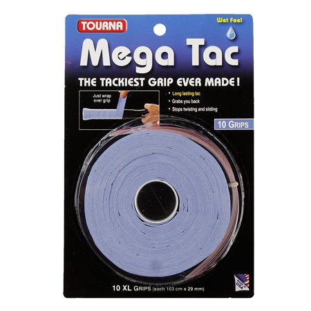 Mega Tac Tennis Racket Grip, Blue, 10-Pack, 10 XL grips per package, includes finishing tape. By Tourna ()
