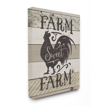 - The Stupell Home Decor Collection Farm Sweet Farm Rustic Rooster Stretched Canvas Wall Art