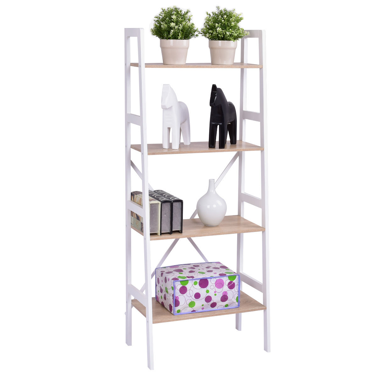Costway 4 Tier Ladder Wall Stand Display Bookshelf Bookcase Storage Shelves Book Rack