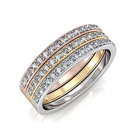 - Elizabeth 18k Tri-colored Gold Plated Ring Set, Stackable Rings, Gold Rings MSRP $169
