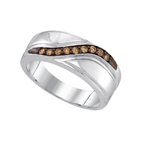 Size 10 - 925 Sterling Silver Mens Round Chocolate Brown Diamond Band Wedding Anniversary Ring (1/4 Cttw) ()