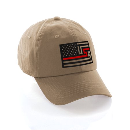 American Thin Blue Red Line Redesigned Support Serviceman Flag Baseball Hat