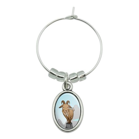 Goat On Mountain Top Wine Glass Oval Charm Drink Marker