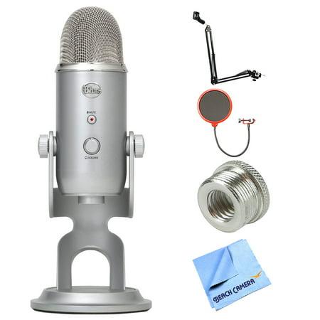 Blue Microphones Yeti Ultimate USB Microphone - Silver (YETI) + Suspension Boom Scissor Arm Stand + Universal Pop Filter Microphone Wind Screen + Mic Stand Adapter + MicroFiber