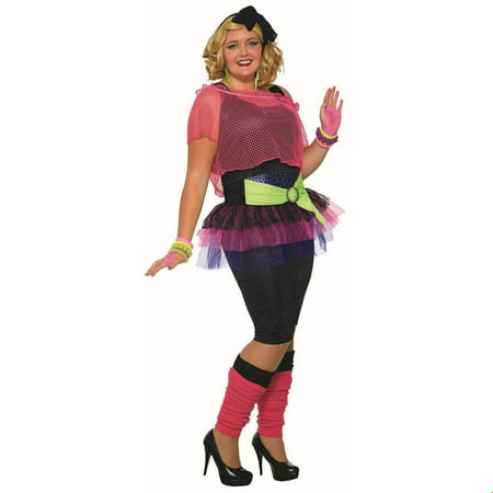 Womens Curvy 80'S Girl Costume (80's Halloween Costume. Blow Up Head)