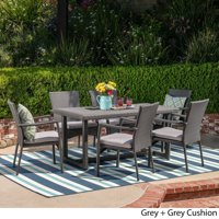 Christopher Knight Home Westley Outdoor 7 Piece Wicker Dining Set by  grey + grey cushion