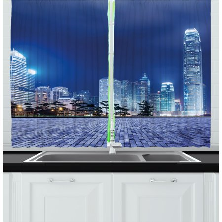 Architectural Metal Panel - Urban Curtains 2 Panels Set, Hong Kong Skyline Night Architectural Cityscape Skyscrapers Modern Photo, Window Drapes for Living Room Bedroom, 55W X 39L Inches, Royal Blue Purplegrey, by Ambesonne
