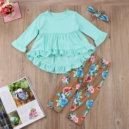 Beautiful Girl Clothing (2018 New Kids Baby Girls Floral Tops Blouse Pants Outfits Set)
