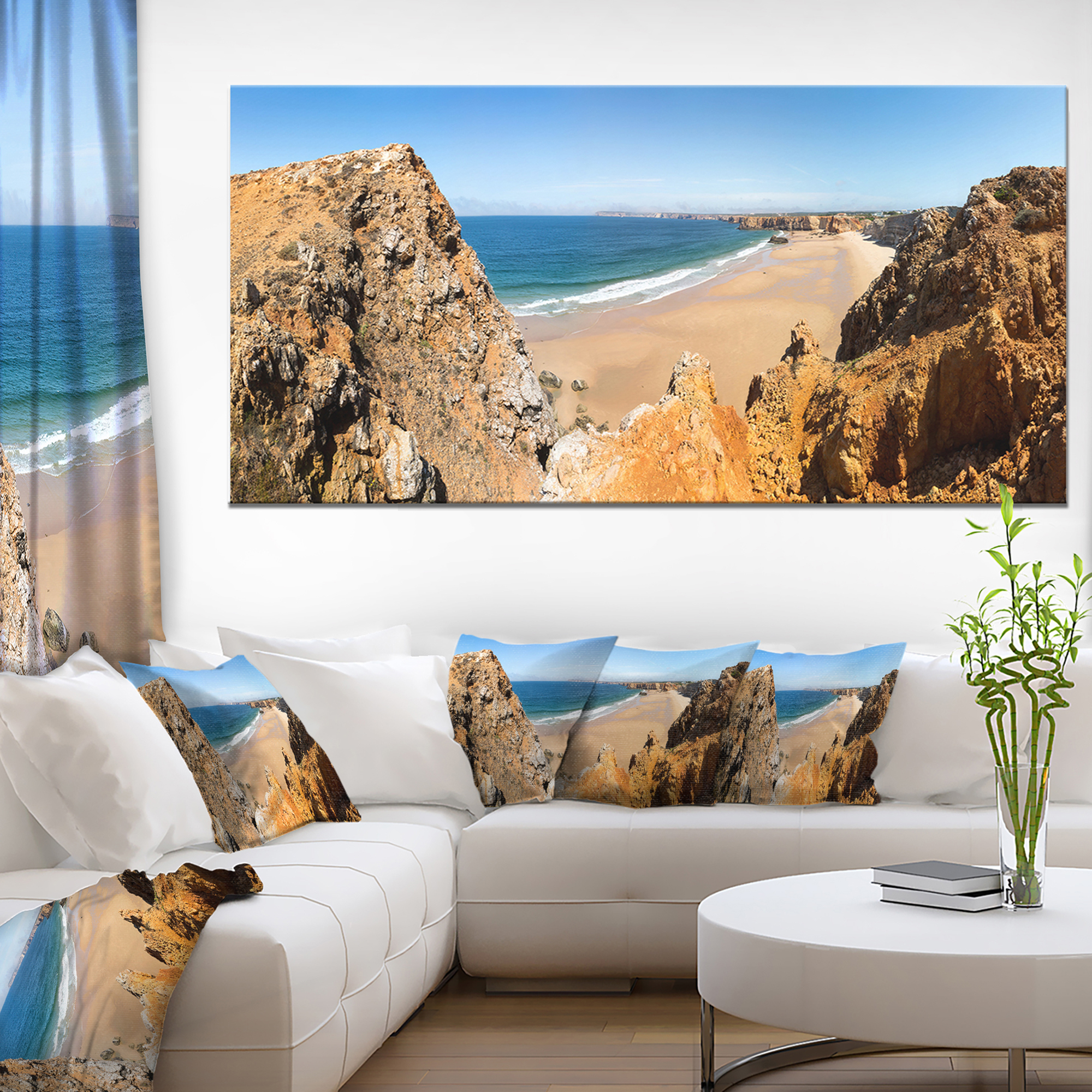 Rocky Bay Portugal Panorama - Landscape Canvas Art Print - image 3 de 3