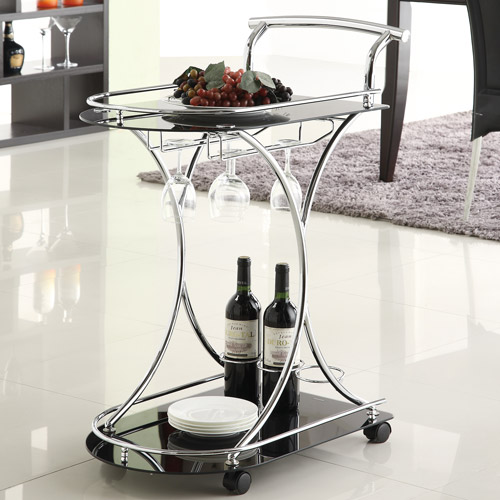 Coaster Contemporary Serving Cart, Black Chrome by COA Prospective