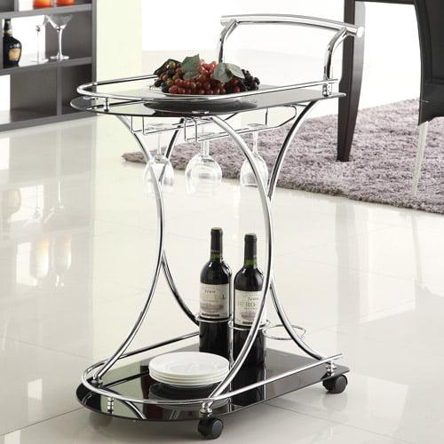Coaster Contemporary Serving Cart, Black/Chrome
