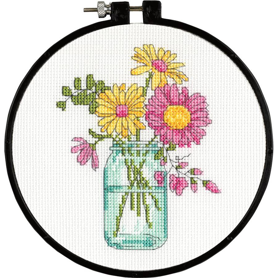 "Learn-A-Craft Summer Flowers Counted Cross Stitch Kit, 6"" Round, 14-Count"