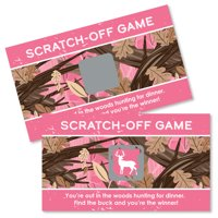 Pink Gone Hunting - Deer Hunting Girl Camo Baby Shower or Birthday Party Game Scratch Off Cards - 22 Count