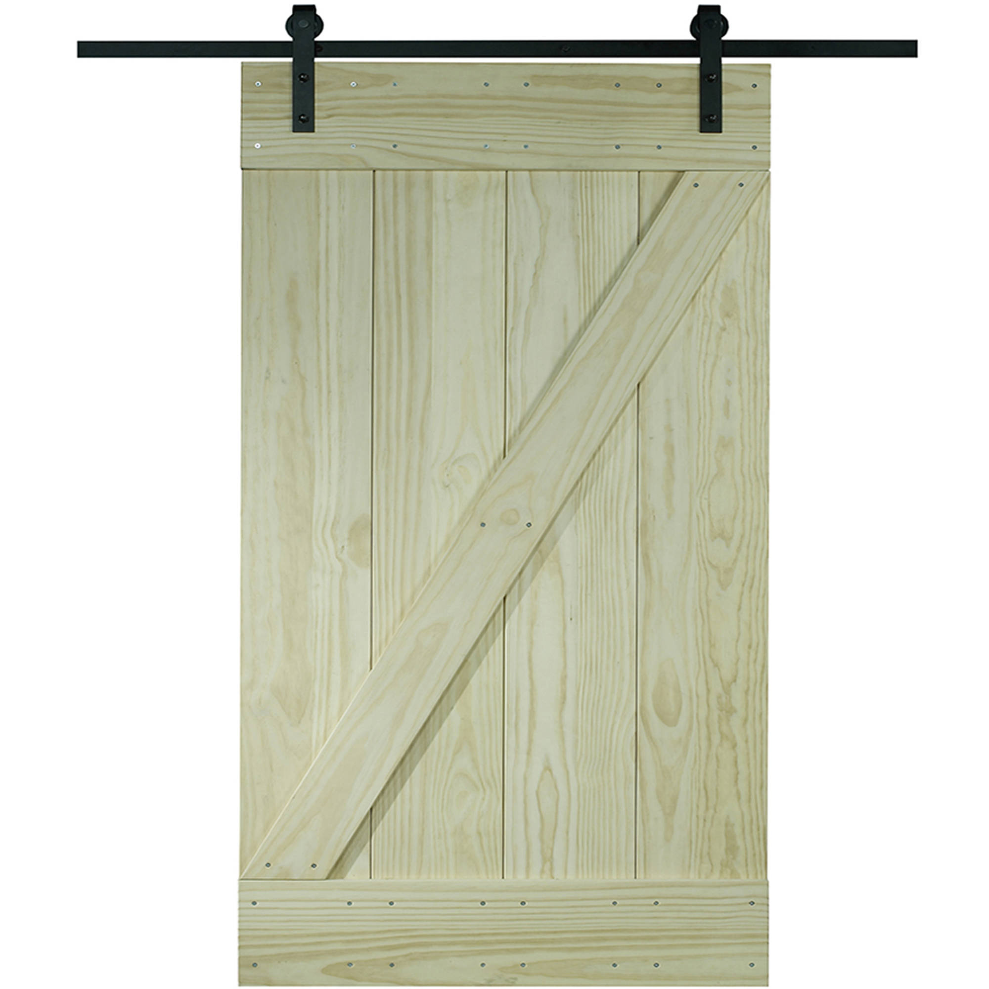 Wood Barn Door Kit 30 X 80 Unfinished Pine Z Design Walmart