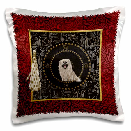 Pekingese Pillow - 3dRose Pekingese Dog, Round Shape, Dog in Chinese, Tassel with Dots, Leaves - Pillow Case, 16 by 16-inch