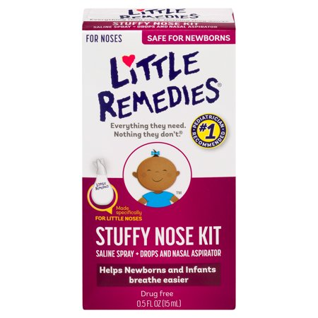 Little Remedies Stuffy Nose Kit, Saline Spray/Drops & Aspirator, 0.5 FL (Best Way To Clear Infant Stuffy Nose)