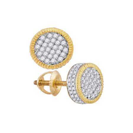 10kt Yellow Gold Mens Round Diamond Fluted Circle Cluster Stud Earrings 1/2 - Fluted Circle