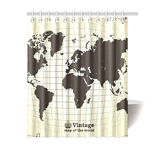 GCKG Vintage World Map Shower Curtain 60x72 Inches Polyester Fabric Bathroom Sets Home Decor