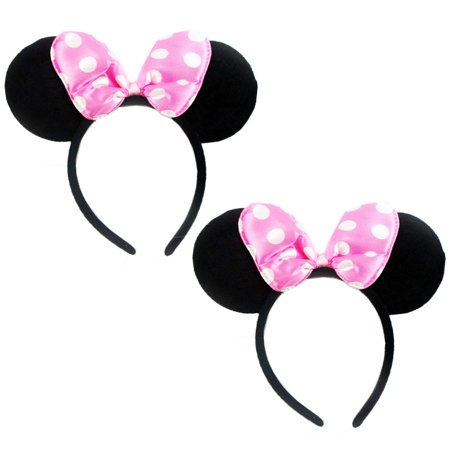 2 Pc Minnie Mouse Ears Headbands Pink Polka Dot Bow Costume Party Favor New Gift (Pig Ear Headband)