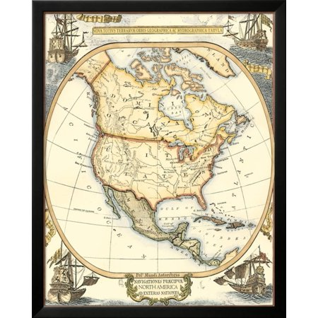 Small nautical map of north america framed art print wall art by small nautical map of north america framed art print wall art by vision studio gumiabroncs Images