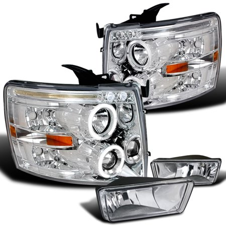 Spec-D Tuning For 2007-2014 Chevy Silverado Chrome Led Halo Projector Headlights + Clear Fog Bumper Lamps (Left+Right) 2007 2008 2009 2010 2011 2012 2013