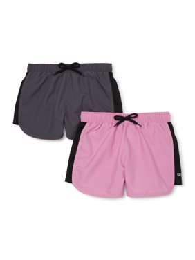 Hind Girls Solid Mesh Running Shorts, 2-Pack, Sizes 4-16