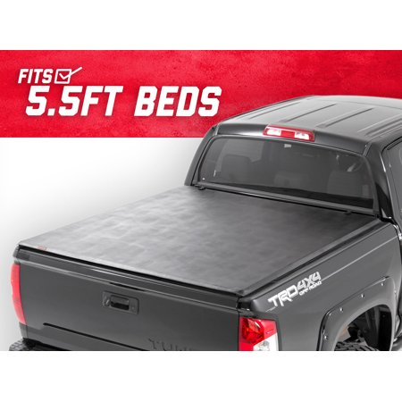 Rough Country Soft Tri-Fold compatible w/ 2014-2019 Toyota Tundra 5.5 FT Bed w/ Rail Sys Truck Tonneau 44714551 ()