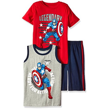 Boys With Muscles (Marvel Toddler Boys' 3 Piece Captain America Muscle Tank, T-Shirt and Short Set, Red,)