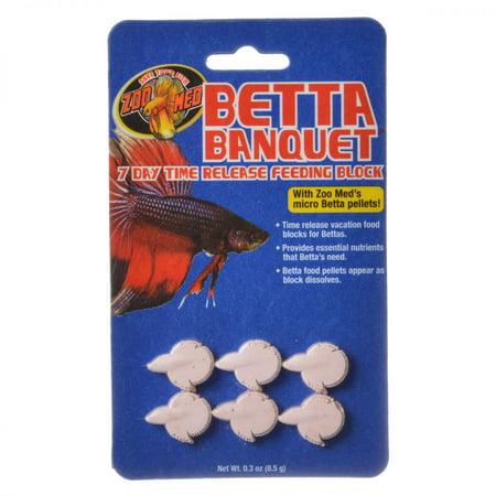 Fish Aquatic Feeder - Zoo Med Aquatic Betta Banquet - 7 Day Betta Feeder .3 oz (6 Pack) - Pack of 4