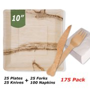"Mattai Palm Leaf Plates, Biodegradable & Compostable - Organic Sustainable Square Dinnerware set[Plates, Forks, Knives, Napkins] Bamboo & Wood Alternative (10"" Plates + Cutlery + Napkins [Set of 175])"