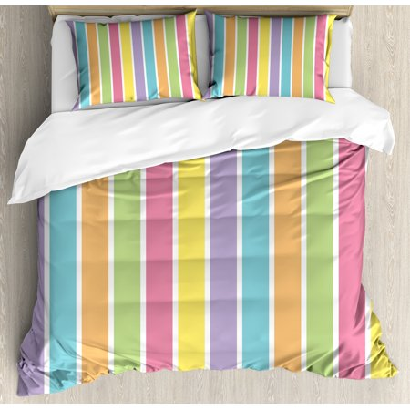 Colorful Queen Size Duvet Cover Set, Pastel Colored Striped Summer Pattern Funky Cheerful Rainbow Inspired Traditional, Decorative 3 Piece Bedding Set with 2 Pillow Shams, Multicolor, by Ambesonne ()