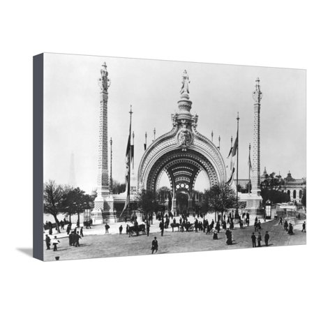 The Monumental Entrance at the Place de La Concorde at the Universal Exhibition of 1900, Paris Stretched Canvas Print Wall Art By French Photographer