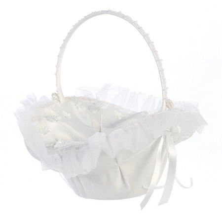 White Organza Trim Butterfly Appliques Flower Girl (Organza Flower Girl Basket)