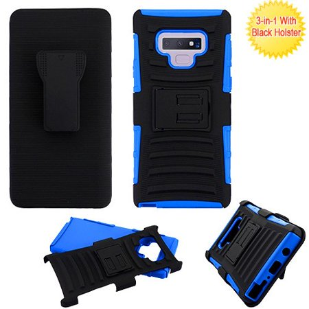 Samsung Galaxy Note 9 Phone Case Combo TUFF Hybrid Impact Armor Rugged TPU Dual Layer Hard Protective Cover Belt Clip Holster Blue Phone Case for Samsung Galaxy Note