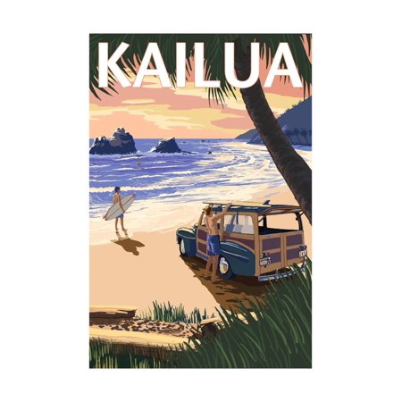 Kailua, Hawaii - Woody on Beach Print Wall Art By Lantern -