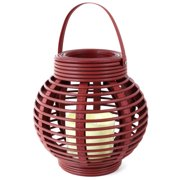 Northpoint Gm8276 Rattan Basket LED Candle, Red