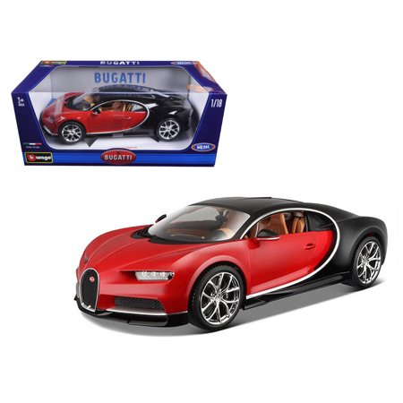 2016 Bugatti Chiron Red with Black 1/18 Diecast Model Car by