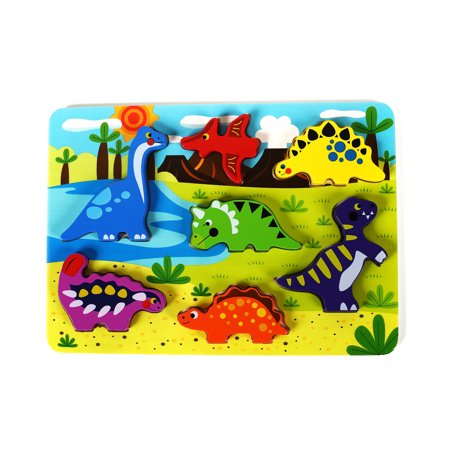 Cute Dinosaur Chunky Wooden Puzzle for Toddlers, Preschool Age w/