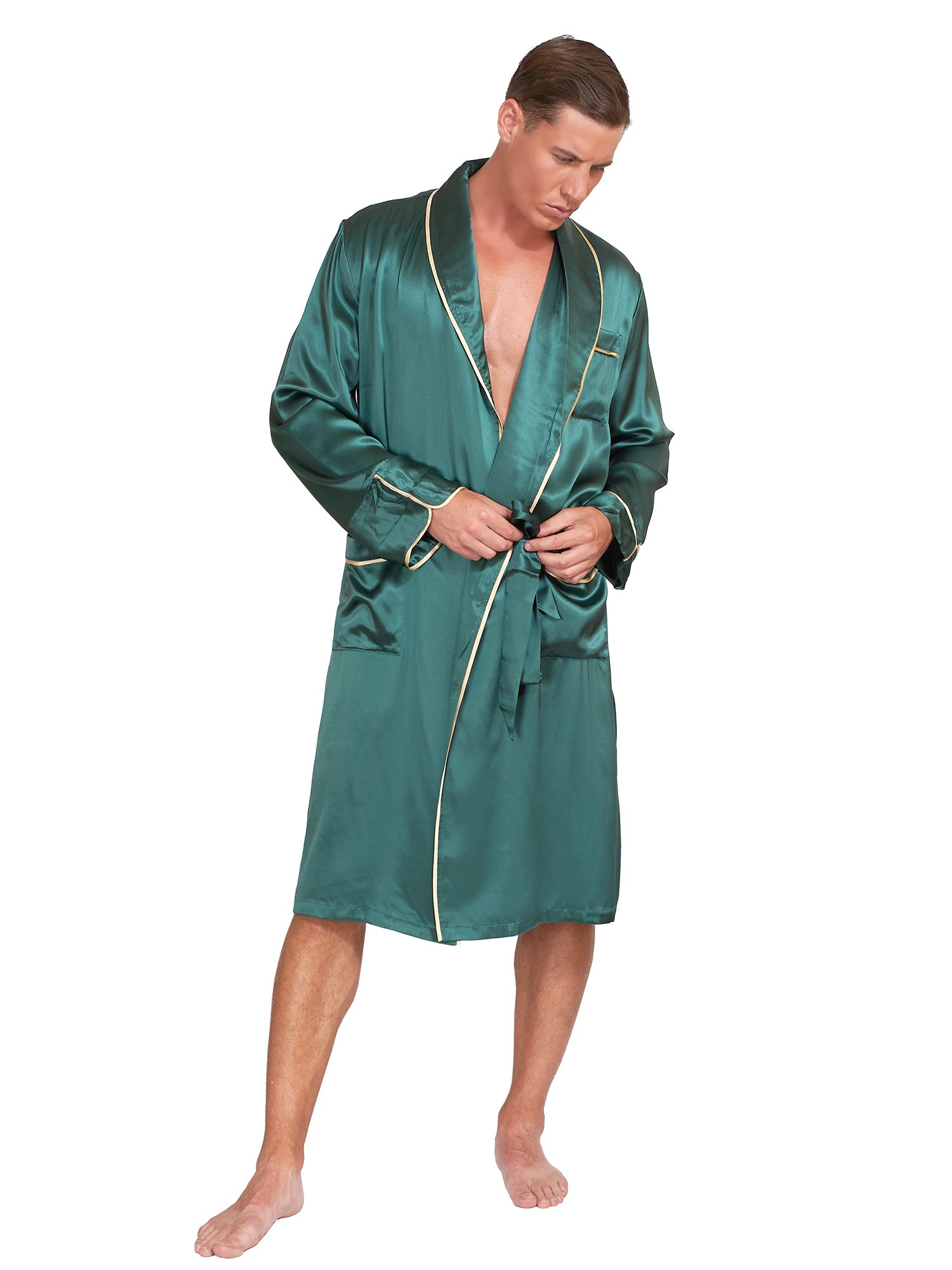 MYK 22 Momme 100% Pure Mulberry Silk Mens Lightweight Spa and Lounge Robe with Gift Box, Perfect for Fathers day, Large, Brandy