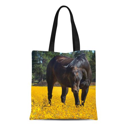 LADDKE Canvas Tote Bag Brown Quarter Bay Horse in of Yellow Flowers Black Reusable Handbag Shoulder Grocery Shopping Bags (Yellow Quarter Horse)