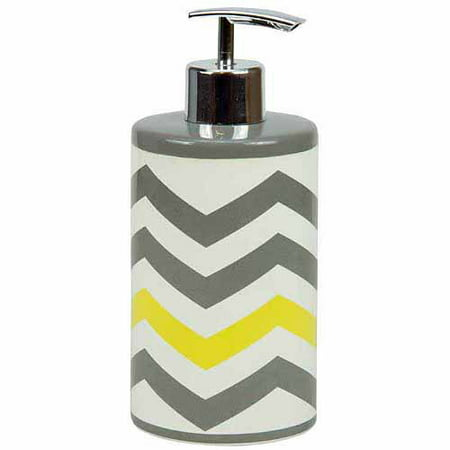 Mainstays chevron lotion pump yellow for Bathroom accessories yellow