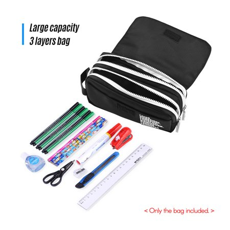 a6f7ff31df11 Large Capacity Pencil Cases Canvas Pen Pouch Durable Stationary Organizer  Bag with Double Zippers for Pens Pencils Highlighters Markers and Other ...