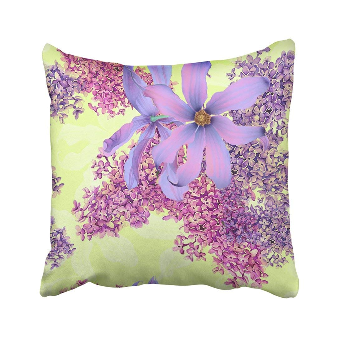 WOPOP Botanical Floral Pattern With Clematis And Lilac Flowers On Yellow Botanical Botanical Bud Pillowcase Cover 20x20 inch